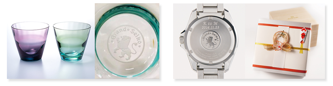 GS獅子の紋章入りペアグラスプレゼント
